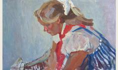 Петр Альберти. Девочка в полосатом сарафане. Карт.м., 30,2х49,3. 1961