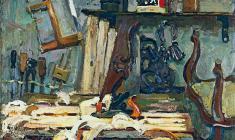 Петр Альберти. Столярная мастерская. Х.м., 100,5х120. 1976
