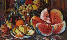 Петр Альберти. Натюрморт с арбузом.  Х.м., 76х80. 1992