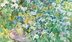 Евгения Антипова. Яблонька в цвету. Х.м., 60х78. 1997