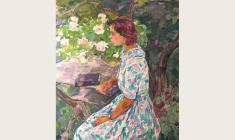 Евгения Антипова. Девочка в саду. Х.м., 120х100. 1964