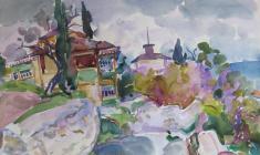 Евгения Антипова. Улочка в Гурзуфе. Бум.,акв., 50х64. 1968