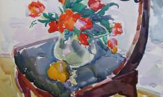 Евгения Антипова. Тюльпаны на кресле.    Бум.,акв., 83,5х63,5. 1967