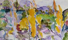 Евгения Антипова. Жёлтые деревья. Бум.,акв., 50,5х64. 1968