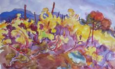 Евгения Антипова. Жёлтые виноградники в пасмурный день.  Бум.,акв., 46х64. 1966