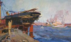 Евгения Антипова. Корабли в доке. Карт.м., 28,3х49,2. 1956