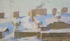 Таисия Афонина. Крыша. Карт.м., 25,3х34,7.  1957