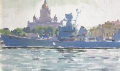 Таисия Афонина. Корабль на Неве. Карт.м., 15,5х22. 1960