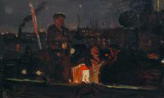 Всеволод Баженов. Ночная Нева. Карт.м.,29х48,5. 1959