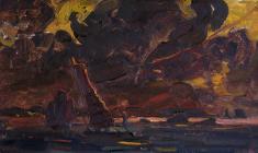 Всеволод Баженов. Ночь над Вьетнамом. Карт.м., 25х44. 1963