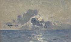 Всеволод Баженов. Восход в Индийском океане. Карт.м., 13х18. 1962