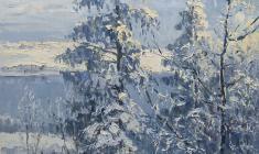 Всеволод Баженов. Зимнее утро. Карт.м.,44,5х50. 1956