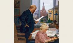 Н. Баскаков. Ленин в Кремле. Х.м. 170х135. 1960