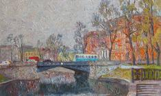 Вениамин Борисов. На Садовом мосту в Ленинграде. Х.м., 50х70. 1991