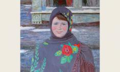 Вениамин Борисов. Деревенская девушка. Х.м., 80х70.  1986
