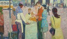 Вениамин Борисов. Продавец мороженого. Х.м., 50х60. 1991