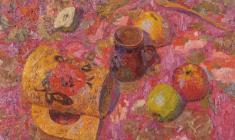 Вениамин Борисов. Натюрморт с розовой скатертью. Х.м., 44,5х60. 1997