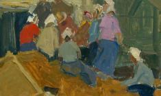 Злата Бызова. На гумне. Карт.м.,21,5х24,3. 1959