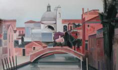 Николай Романов. Венецианский пейзаж в розовых тонах. Х.м.90х105. 2012