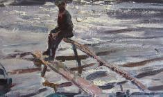 Василий Голубев. На Волхове. Карт.м., 40х49,5. 1966