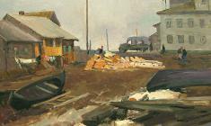 Абрам Грушко. На берегу Онеги. Карт.м.,31,5х44,5.,1976