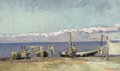 Вячеслав Загонек. Рыбаки на Иссык-Куле. Х.м.,31,5х53. 1954
