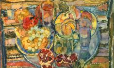 Сергей Захаров. Натюрморт с серебряным подносом. Бум.акв.,54х64. 1980