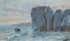 Рубен Захарьян. Скалы в Гурзуфе. Карт.м.,18х31. 1953