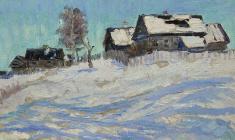 Рубен Захарьян. Голубые тени. Карт.м.,18,5х31. 1959
