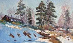 Рубен Захарьян. Март в деревне. Карт.м.,23,3х34,5. 1955