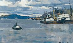 Марина Козловская. Мурманский рыбный порт. Карт.м.,31х50. 1966