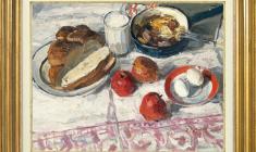 Энгельс Козлов (1926 - 2007). Завтрак. Х.м.,48х60. 1965. Цена по запросу. Breakfast. Oil on canvas. Price on request. 恩克里斯 卡扎罗夫