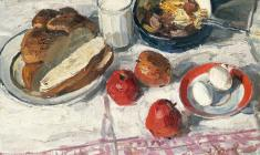 Энгельс Козлов. Завтрак. Х.м.,48х60. 1965