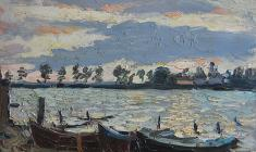 Александр Коровяков. На озере Селигер. Карт.м.,30х40. 1965