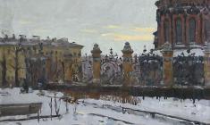 Александр Коровяков.  У Михпйловского сада в Ленинграде. Х.м,,45х55. 1972