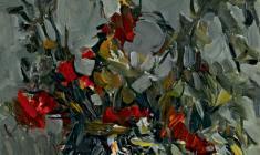 Александр Коровяков. Осенний натюрморт. Карт.м.,70х50. 1972