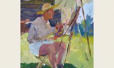 Александр Коровяков. На солнце. Карт.м.,34х23,5. 1956