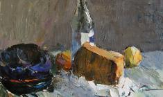Александр Коровяков. Натюрморт с бутылкой. Карт.м.,40х50. 1970