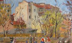 Николай Костров. Весна в садике. Х.м.,50х69,3. 1940