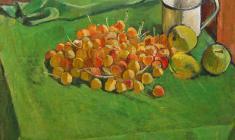 Геворк Котьянц. Черешня и яблоки. Х.м.,47,5х50,5. 1964