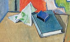 Геворк Котьянц. Натюрморт с коробком. Х.м.,42х45. 1974