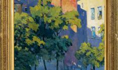 Ярослав Крестовский (1925 - 2003). Дворик. Х.м., 87х55,5. 1959. Цена по запросу. Yaroslav Кrestovsky. Courtyard. Oil on canvas. Price on request.  亚罗斯拉夫   可列斯托夫斯基