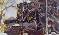 Пётр Литвинский. Весна в Ленинграде. Карт.м.,60х30. 1961