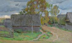 Дмитрий Маевский. Вечер в деревне Подол. Х.м.,45х60. 1971