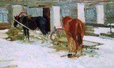 Дмитрий Маевский. Лошади. Х.м.,32,5х58. 1961