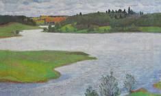 Дмитрий Маевский. Река Мста. Х.м.,50х60. 1977