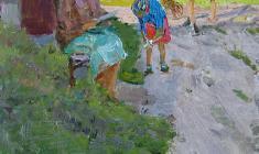 Дмитрий Маевский. На улице. Карт.м.,23,5х17,5. 1960