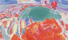 Гавриил Малыш. Красные деревья. Бум.акв.,32х44. 1968