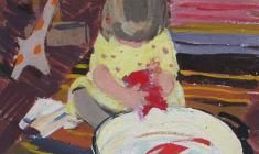 Вера Назина. Купание игрушек. Карт.м.,20,5х21. 1956