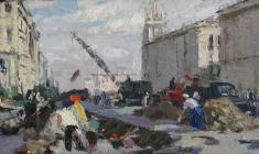 Анатолий Ненартович. Ленинградская улица. Карт.м.,14,8х31,5. 1958